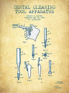 Aged Pixel - Dental Cleaning Tool Apparatus patent from 1963 - Vintage Paper