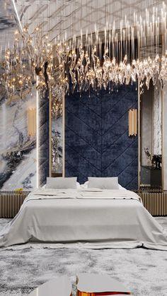 Master Bedroom Design, Modern Bedroom, Master Bedrooms, Luxury Home Decor, Luxury Homes, Blue Bedroom Decor, Bedroom Ideas, Bedroom Design Inspiration, Appartement Design