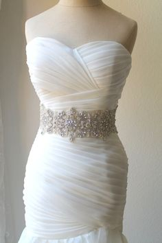 Luxury Thick/Wide Statement Crystal Pearl Bridal Sash. 4 inch