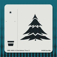 Retro Christmas tree stencil, from the Mid Century Modern stencil series by Donna Mibus, available at istencils.com