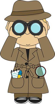 Detective With Binoculars Clip