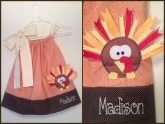 Thanksgiving Fall Autumn Turkey Pillowcase Dress for little girls Applique KiraPeasleyDesigns via Etsy.