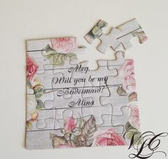 This listing is for one rustic personalized puzzle proposal in organza bag.  Personalized puzzle with the names of your friends to ask them to