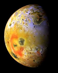 Io is the first Galilean moon of Jupiter, it is slightly larger than Earth's moon.  Io experiences intense tidal heating due to its elliptical orbit and orbital resonance with Europa and Ganymede.  This makes Io the most geologically active moon in our solar system.