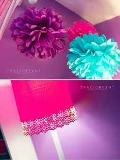 Traci Ryant Photography: Baby Lyla's Nursery | Chevron & Polka Dots Girl's Nursery | Purple, Pink & Turquoise Hanging poms