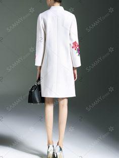 Blossom Embroidered Side Slit Mandarin Coat