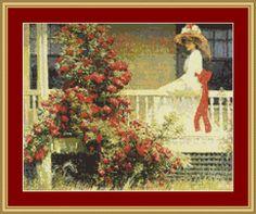 Crimson Rambler Cross Stitch Pattern