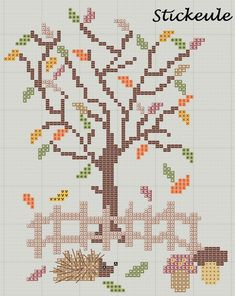 Stickeules Freebies: Herbst; free fall cross stitch pattern; and many more too