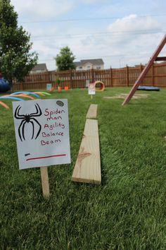 "Superhero Training Center - Superhero Obstacle Course - Spider Man Agility Balance Beam-1"" X 6"" boards. We just had them in the garage."