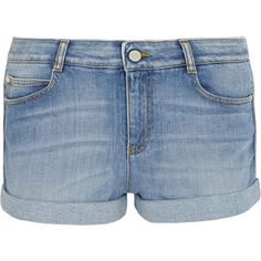 Stella McCartney Stretch-denim shorts ($185) ❤ liked on Polyvore featuring shorts, bottoms, light blue shorts, frayed shorts, stretch denim shorts, stretchy shorts and stella mccartney shorts
