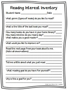 Head Over Heels For Teaching: Workshop Wednesday: Reading Workshop-Reading Interest Inventory-learn so much about your students in minutes! Reading Interest Inventory, Reading Interest Survey, Reading Survey, Reading Assessment, Reading Goals, Reading Intervention, Reading Lessons, Reading Resources, Reading Strategies