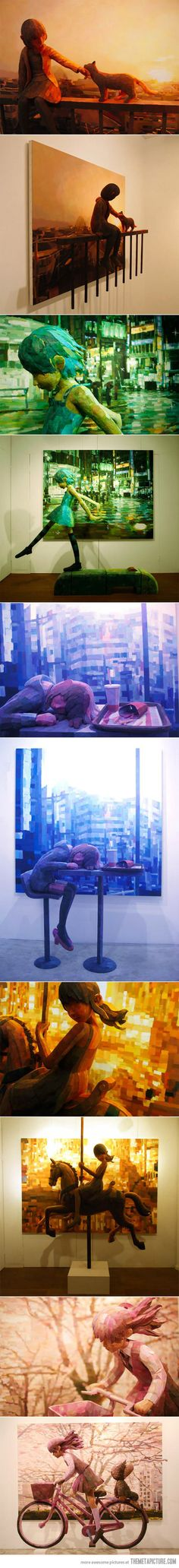 Shintaro Ohata combines sculpture and canvas in his art…amazing..