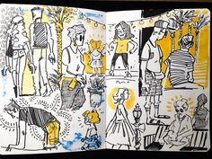 Some of my art journal pages I like from late summer, fall and winter. Arte Sketchbook, Sketchbook Pages, Cartoon Drawings, Ink Drawings, Illustrations, Illustration Art, Sketchbook Inspiration, Arte Pop, Pretty Art