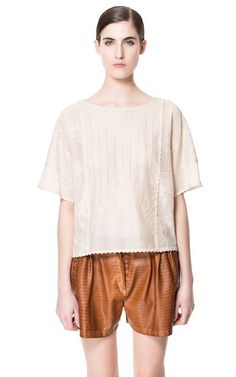 COMBINATION EMBROIDERED TOP - Woman - New this week - ZARA Israel