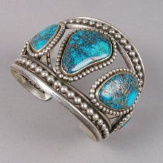 LOVE!! Cuff | Unknown Hopi Pueblo artist.  Sterling silver and 5 Morenci Turquoise stones.  ca. 1960s