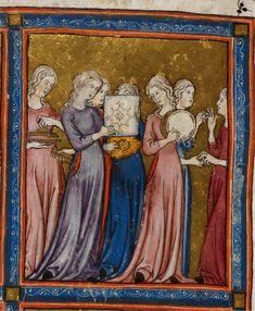 Miriam at the Sea (detail) Golden Haggadah, (1340), Fol.15 Courtesy British Library, London