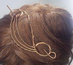 Pasadores - Broche de pelo de cobre envuelto y piedra natural - hecho a mano por Serenity_Creaciones en DaWanda
