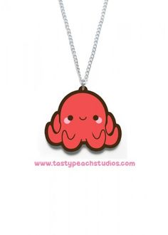A super cute japanese bento octopus necklace The charm is approx inches tall and suspended from an inch silvertone chain br br Acrylic is waterproof and scratch resistant All jewelry Tasty Peach Studios, Cute Japanese, Bento, Charlie Brown, Octopus, Super Cute, Toy, Handmade, Accessories