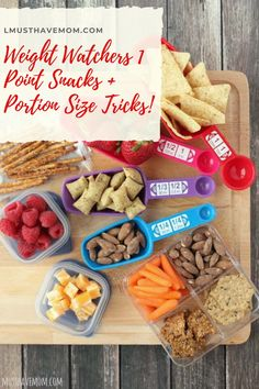 Weight Watchers 1 Point Snacks and Portion Size Tricks. Use these healthy snack ideas to stay on track with your diet and health goals. Must Have Mom