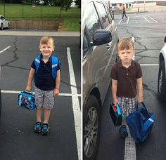 cool 5+ Hilarious Pics Of Kids Before & After Their First Day Of School