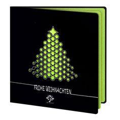 Moderne Weihnachtskarte Nr. 128 (geschäftlich) in schwarz/grün mit ausgelasertem Weihnachtsschmuck in Tannenbaumform und Logo online » Kartenzia