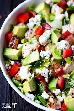 PRINT: Chicken, Bacon  Avocado Chopped Salad chicken, chopped salads, blue cheese, salad recipes, avocado chop, bacon avocado, apple cider vinegar, food, chop salad