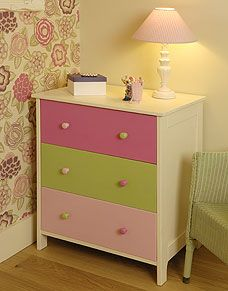 Update chest of drawers with Plastikote. It couldn't be easier to bring an old chest of drawers right up to date with some inspiration and a selection of spray paints. These colours are fantastically girly! We've even mixed and matched the drawer handles for a fun contrast.
