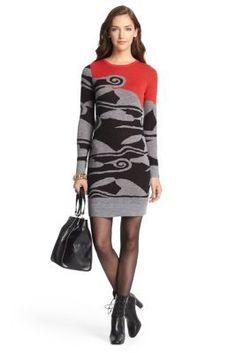DVF Berlin Sweater Dress in Cloud Wave Poppy