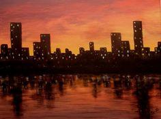 Stad bij zonsondergang, canvas 50x40cm