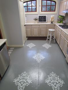 DIY Stained And Stenciled Concrete Floors. Who Know Concrete Floors Could  Look So Fancy!  All You Need Is A Stencil, A Contrasting Paint Color U0026 A  Foam ...