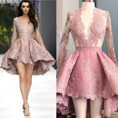Deep V Neck Lace Long Sleeves Sexy Homecoming Dresses, PM0404 The dress is fully lined, 4 bones in the bodice, chest pad in the bust, lace up back or zipper back are all available. This dress could be #homecomingdresses