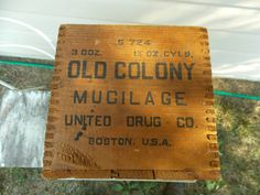 Old Colony Mucilage  United Drug Co Box  Rustic by DocsOddsandEnds