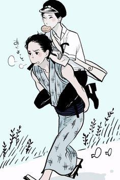 Shōwa Genroku Rakugo Shinjū sketch by Haruko Kumota