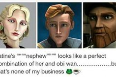 AHG  Father's eye shape✔️  Father's eye color✔️  Father's hair color✔️  Mother's nose✔️  ....also notable that while Satine's sister is badass I doubt she'd abandon her son when Mandos are all about loyalty and there are no other mentions of Satine having other siblings.....but that's none of MY business ☕️