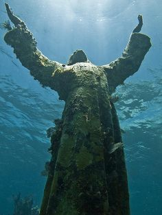 Christ of the Abyss is a submerged bronze sculpture of Jesus Christ that stands in 25 feet of water off of Key Largo, Florida.