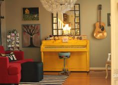 Farmgirl Paints *love the painted piano, light, fun piano stool*