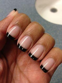 Shellac black French manicure