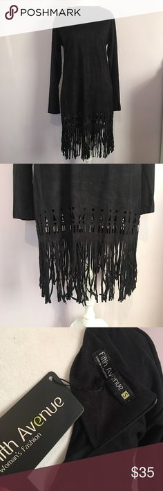 Suede Laser-Cut Fringe Dress Brand new with tags, soft and adorable  Size small but can fit a medium too Dresses