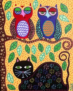 Kerri Ambrosino Original Mexican Folk Art Owls and Black Cat Sunny Skies Tree. $50.00, via Etsy.