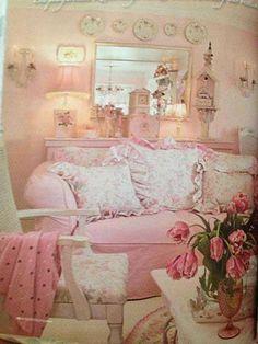 Shabby Sweet......overstuffed couch, bird house, big pillows....