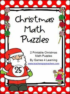 Christmas Math Puzzles by Games 4 Learning contains 2 printable Christmas Math PuzzlesThese free Christmas puzzles are perfect for keeping studen. Fun Classroom Activities, Classroom Crafts, Math Classroom, Christmas Activities, Fun Math, Math Games, Christmas Maths, Christmas Ideas, Easy Math