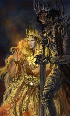 Melkor and Sauron http://gavrgavr.tumblr.com/post/92521899579/melkor-and-sauron-awwwwrrrr