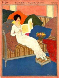 Premium Giclee Print: Vogue Cover - February 1913 Art Print by Helen Dryden : Vogue Vintage, Vintage Vogue Covers, Art Vintage, Moda Vintage, Art Deco Illustration, Magazine Illustration, Art Deco Posters, Poster Prints, Moda Art Deco