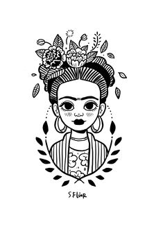Little Frida on BehanceYou can find Frida kahlo and more on our website.Little Frida on Behance Art Sketches, Art Drawings, Tattoo Drawings, Kahlo Paintings, Frida Art, Doodle Art, Art Inspo, Line Art, Art Projects