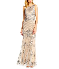 43cc9946afb Adrianna Papell Beaded Illusion Mermaid Gown