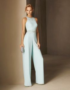 Pronovias > BLASCO - Straight-cut cocktail jumpsuit in crepe, halter neck and fitted at the waist Sexy Dresses, Evening Dresses, Fashion Dresses, Formal Dresses, Party Dresses, Bridal Dresses, Cocktail Jumpsuit, Cocktail Dresses Uk, Occasion Dresses
