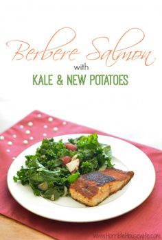 Berbere salmon with new potatoes and kale recipe from Plated