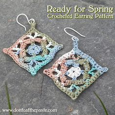 These earrings work up really fast using a small amount of thread, and are stiffened using Mod Podge.