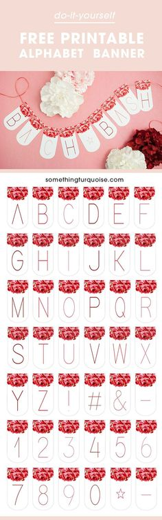 Out This Adorable FREE Printable Alphabet Banner! Adorable FREE printable floral alphabet banner, you can make it say anything you want!Adorable FREE printable floral alphabet banner, you can make it say anything you want! Diy Garland, Garlands, Party Printables, Free Printables, Bachelorette Party Banners, Create A Banner, Floral Banners, Freebies, Shower Banners