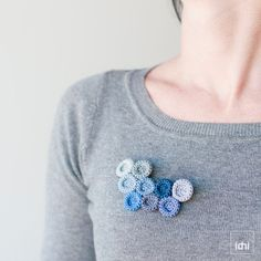 Brooch crocheted circles. Blue tones . Item ready to be shipped .